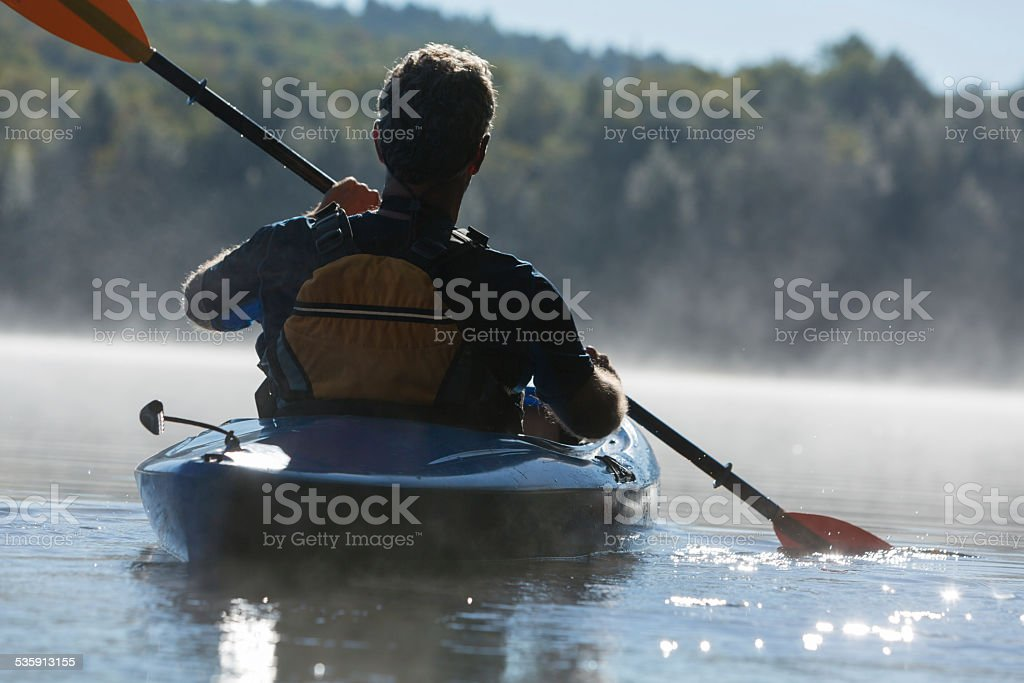 Setting Out in a Kayak stock photo