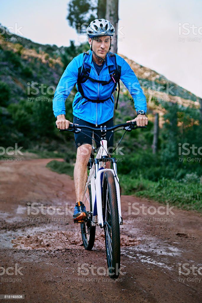 Setting out on his bike ride stock photo