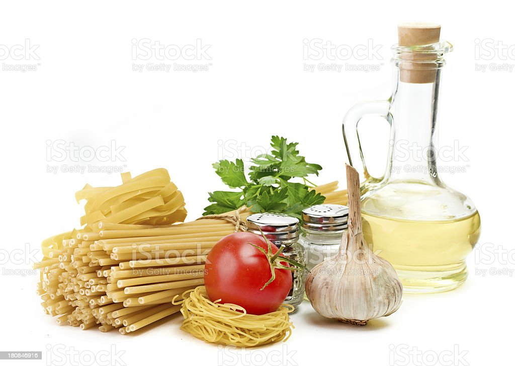Setting pasta with tomato and garlic royalty-free stock photo