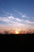 Setting sun behind hillside grasses