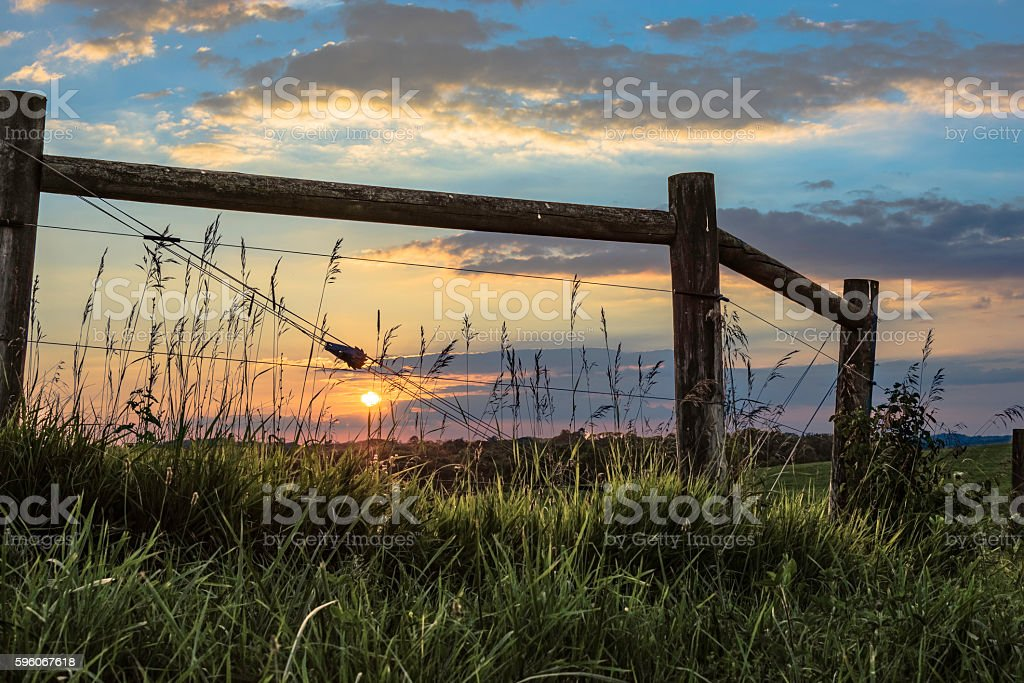 Setting Sun in the Country stock photo