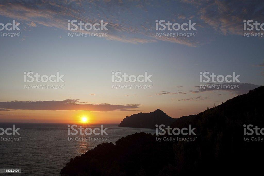 Setting Sun on Corfu stock photo