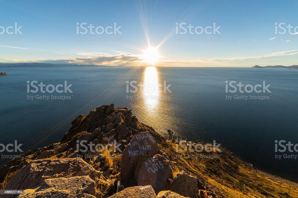 Setting sun on Titicaca Lake, Copacabana, Bolivia stock photo