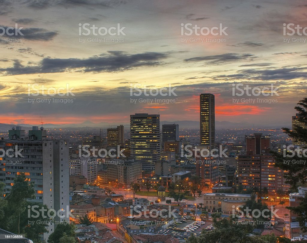 Setting sun over Bogotá stock photo