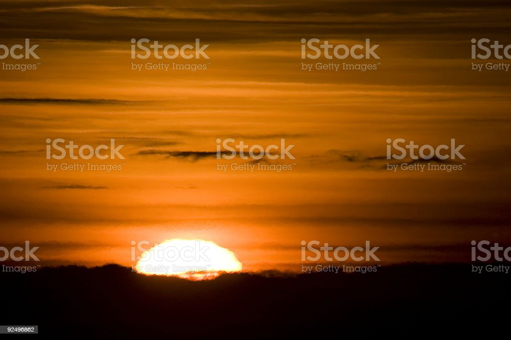 Setting Sun with unevenly heated air effects (no filter work) stock photo