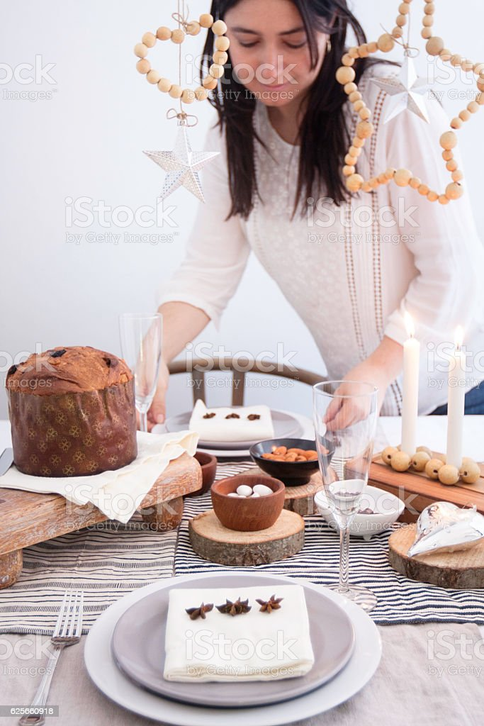 Setting tabletop decoration for Christmas gathering stock photo