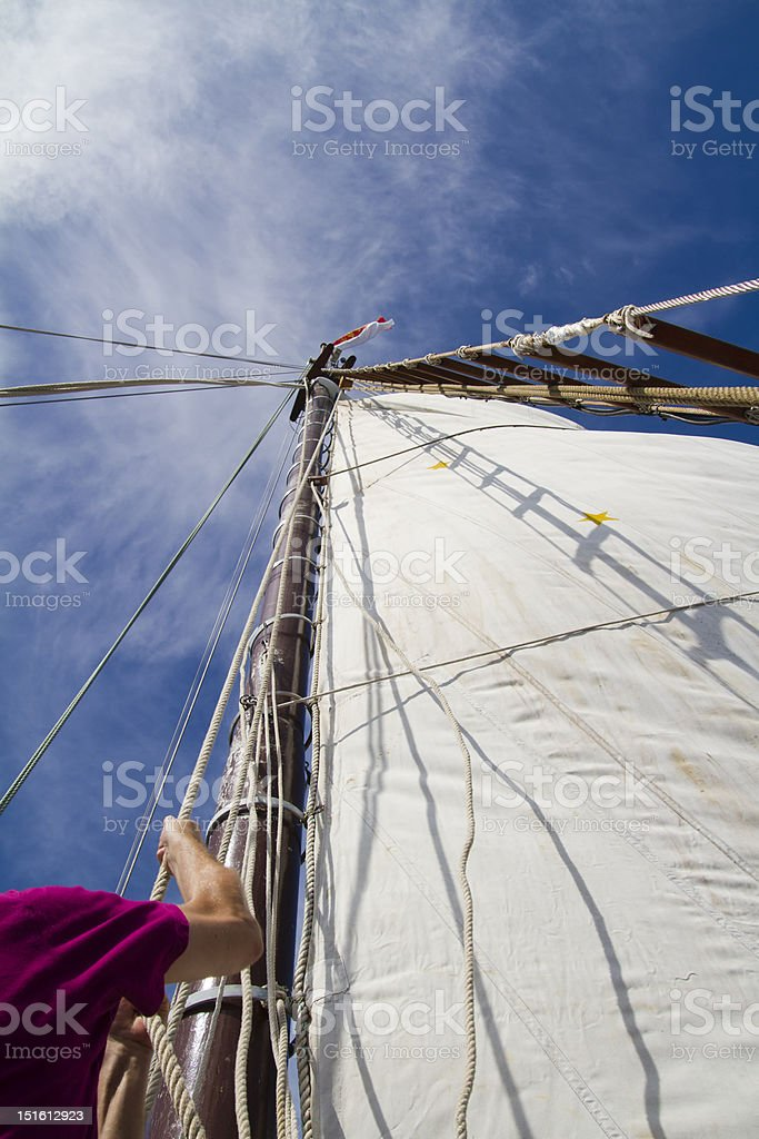 Setting the sails stock photo