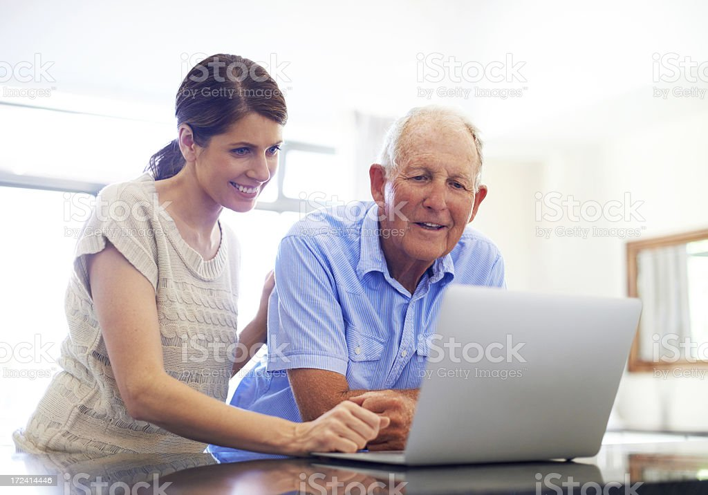 Setting up a video chat stock photo