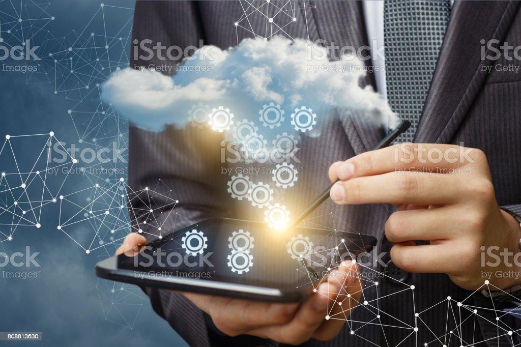 Setting up cloud data . stock photo