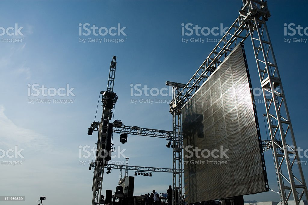 Setting up concert stage for event stock photo