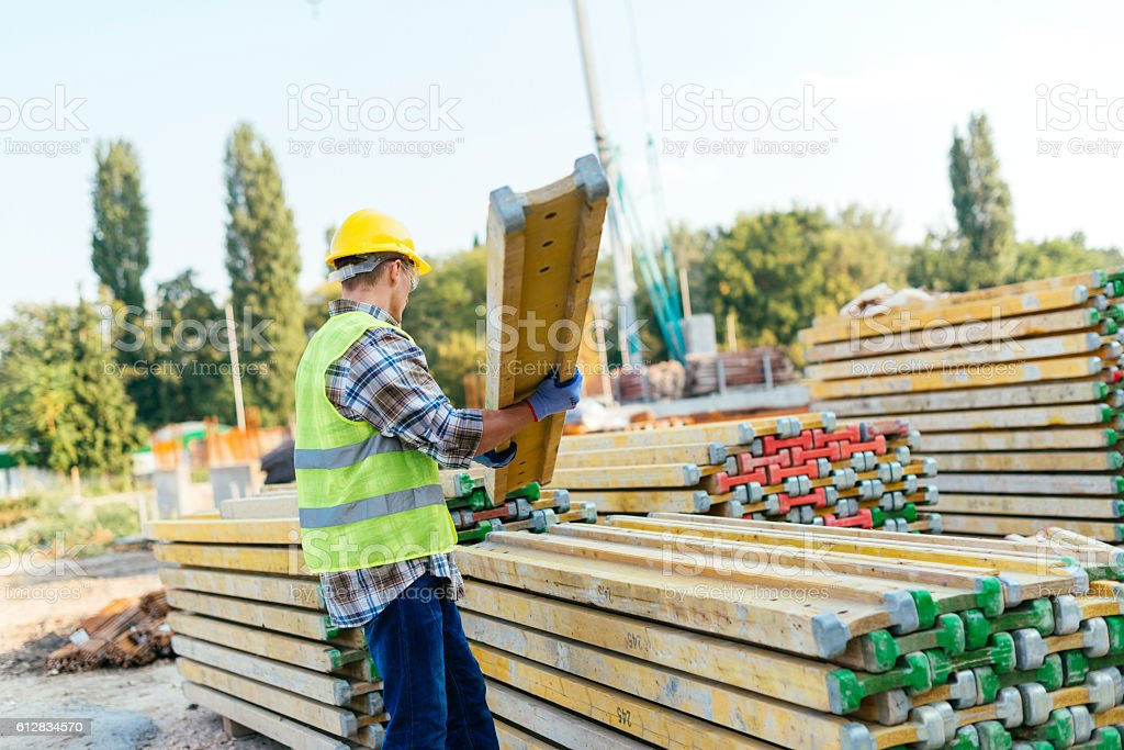 Setting up foundations for the building stock photo