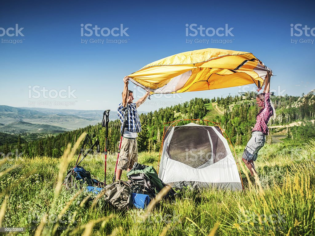 Setting up stock photo