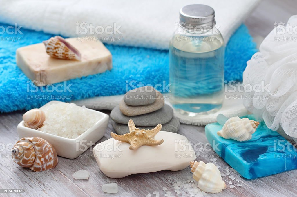 SPA setting with sea minerals stock photo