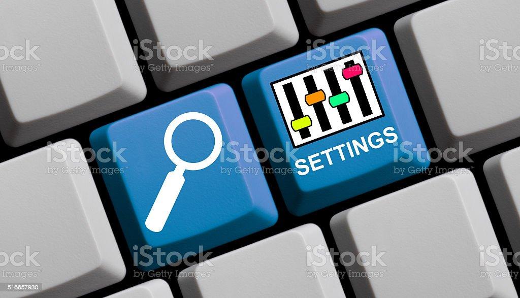 Settings online stock photo