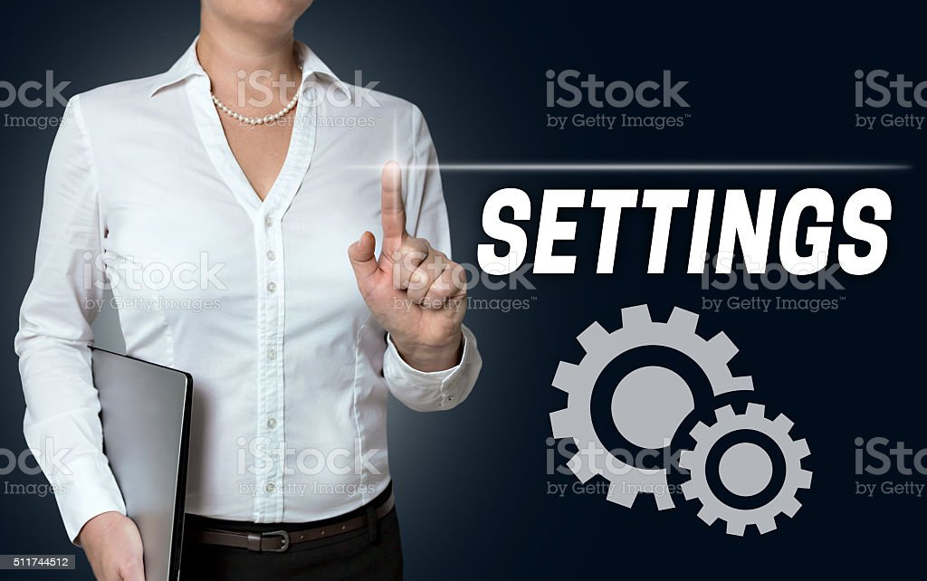 settings touchscreen is operated by businesswoman stock photo