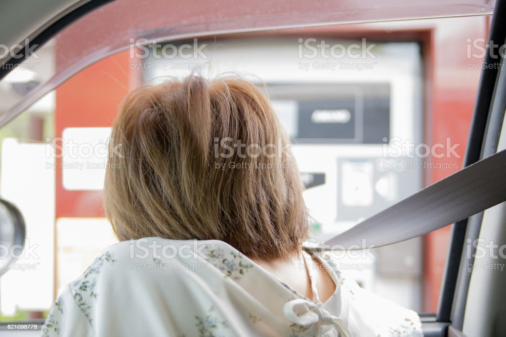 Settle at the parking lot's automatic checkout machine stock photo