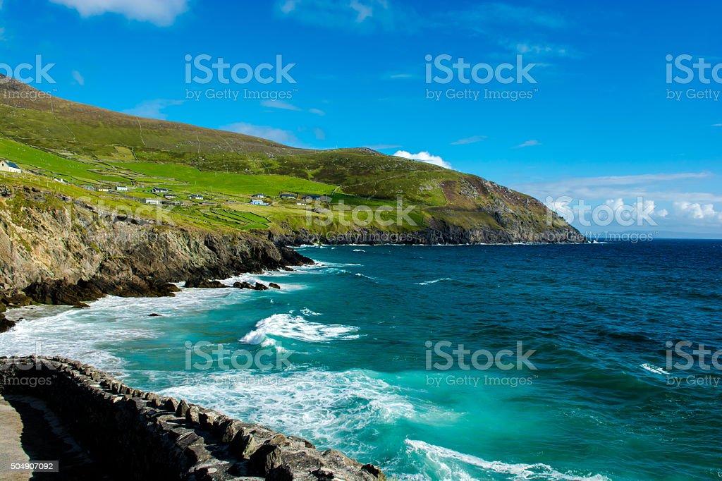 Settlement at the Coast of Slea Head in Ireland stock photo