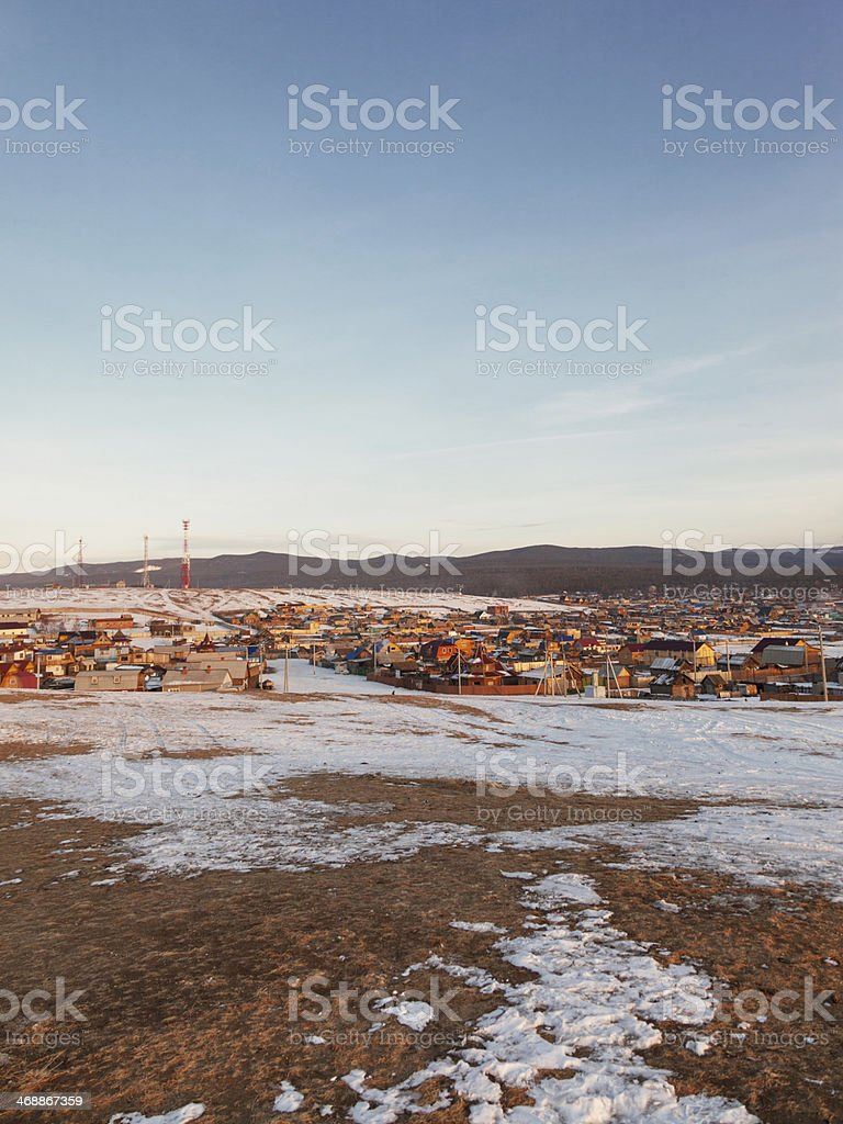 Settlement Huzhir  in lake Baikal royalty-free stock photo
