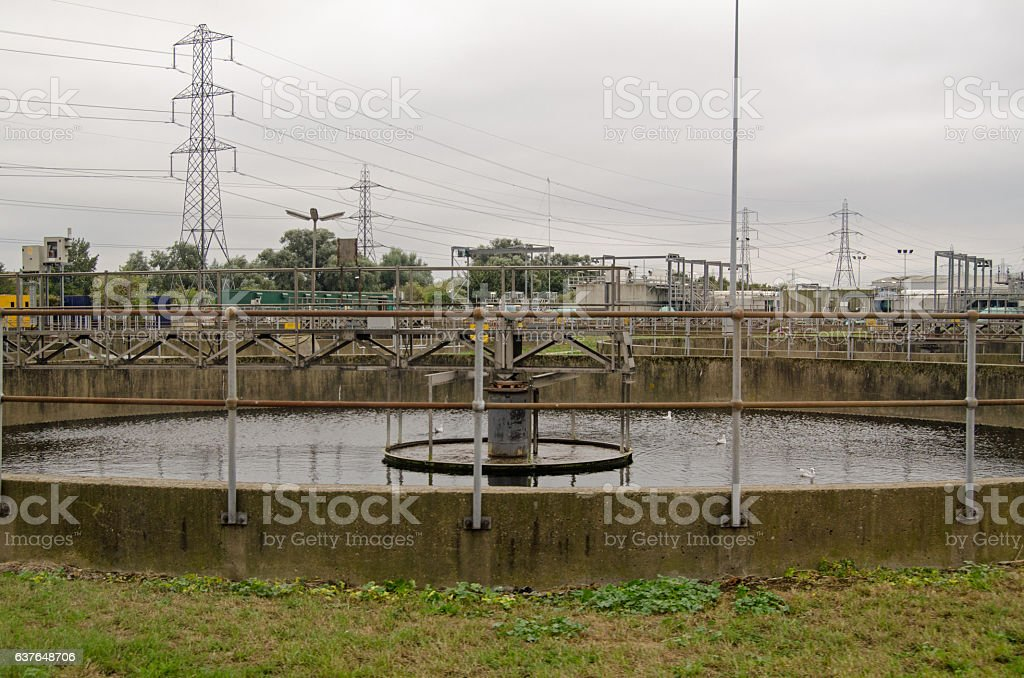 Settlement tank at sewage works stock photo