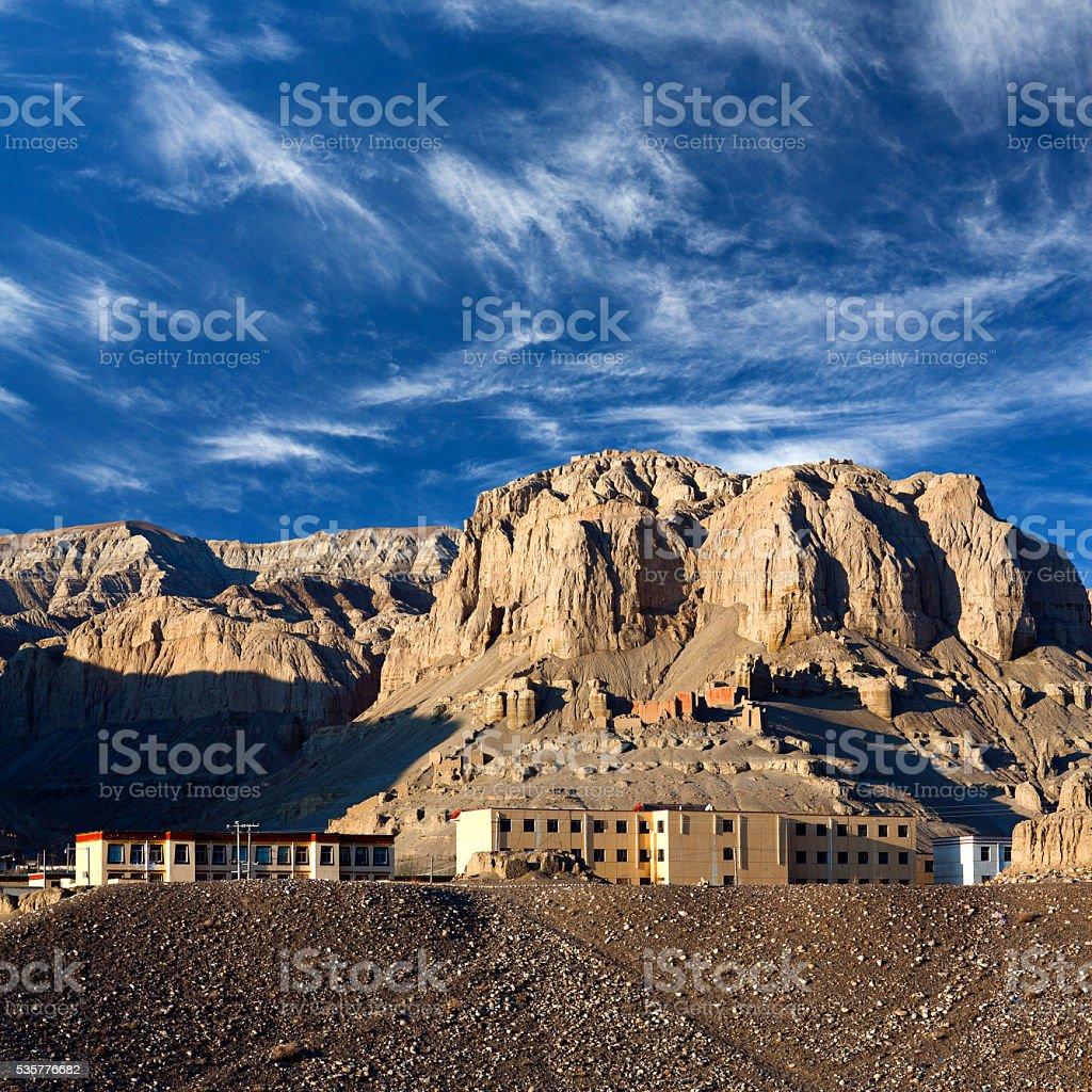 Settlement Zhada (Tholling) in Ngari, Tibet stock photo