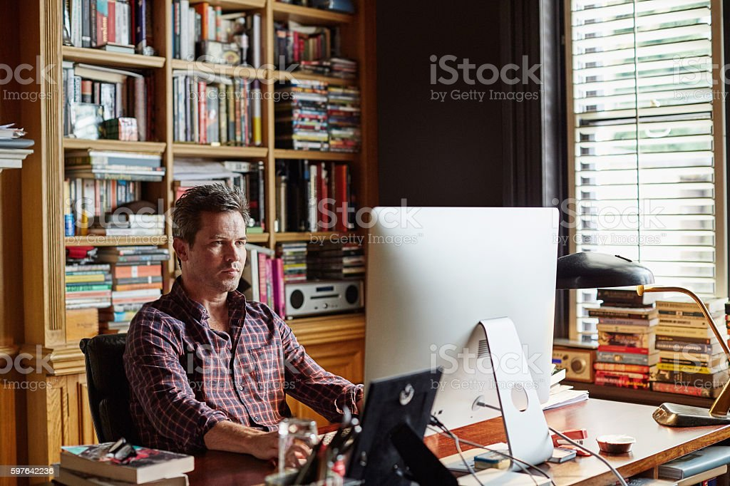 Settling into work at home stock photo