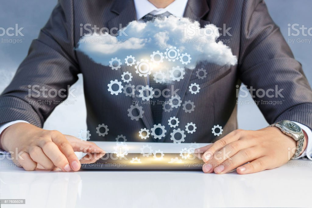 Setup data transfer from the cloud . stock photo