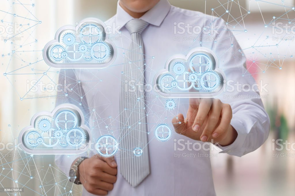 Setup data transfer from the cloud to the network . stock photo