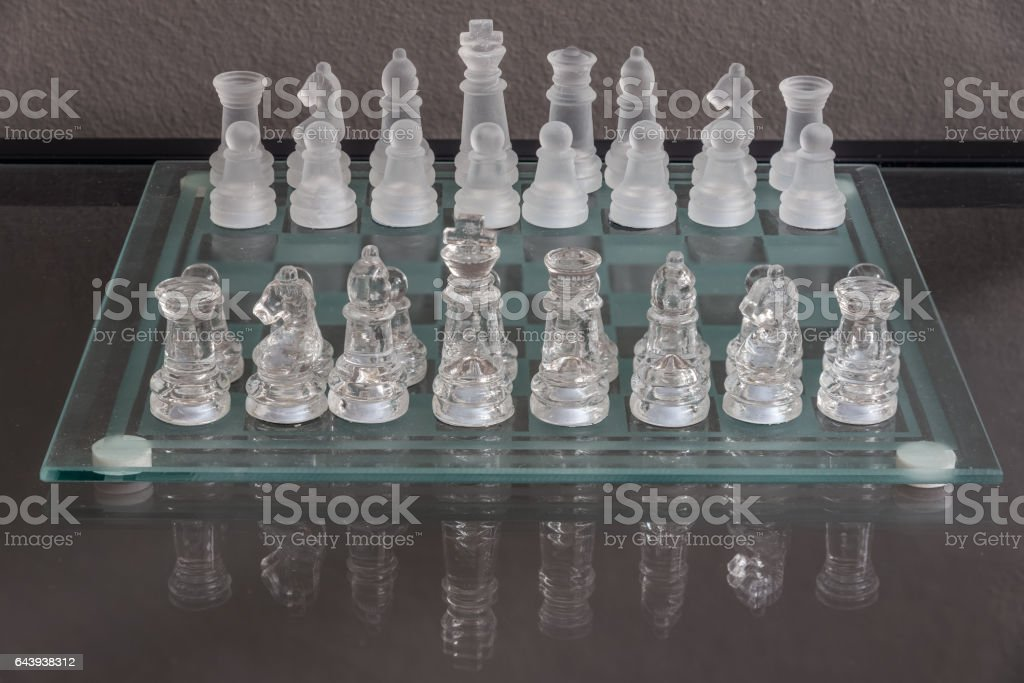 Setup of the start of chess game stock photo