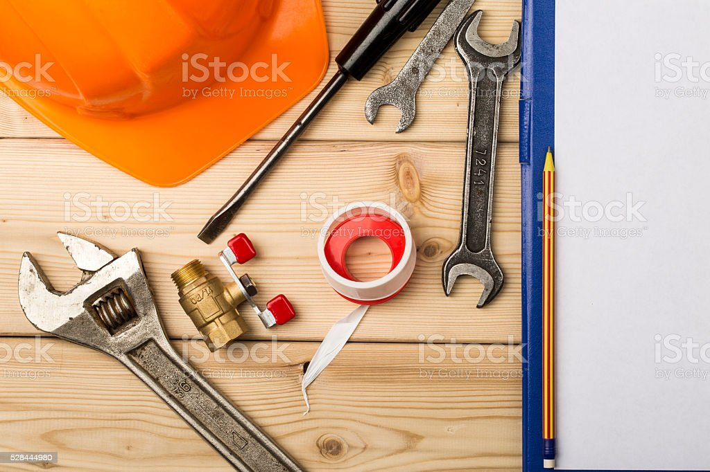 Set-up of various hand and bench tools stock photo