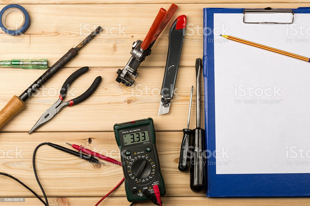 Set-up of various hand and electric tools for repair stock photo