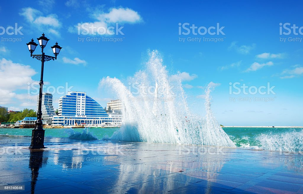 Sevastopol embankment with the incident wave stock photo