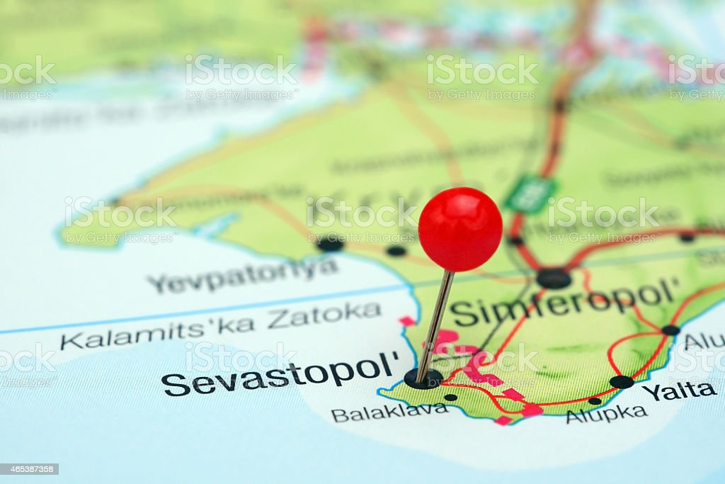 Sevastopol pinned on a map of europe stock photo