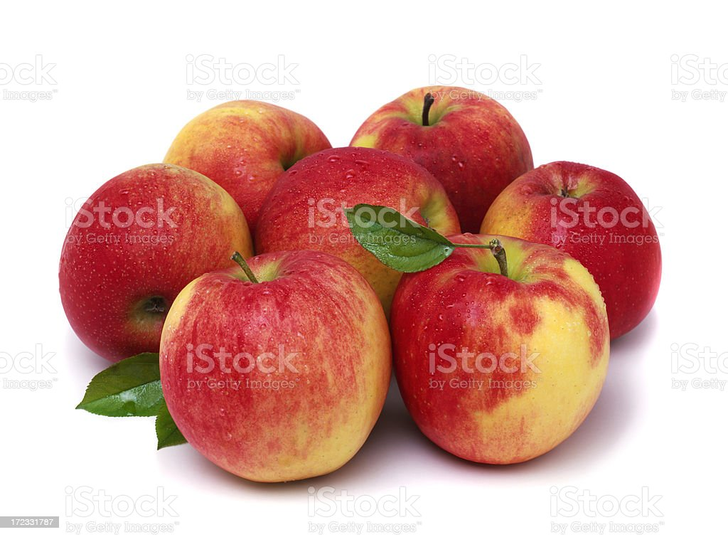 seven Apples with Leafs stock photo