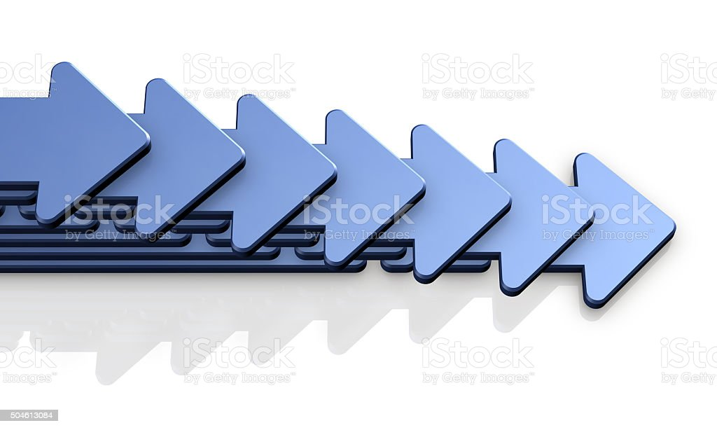 Seven arrows proceeding to the right stock photo