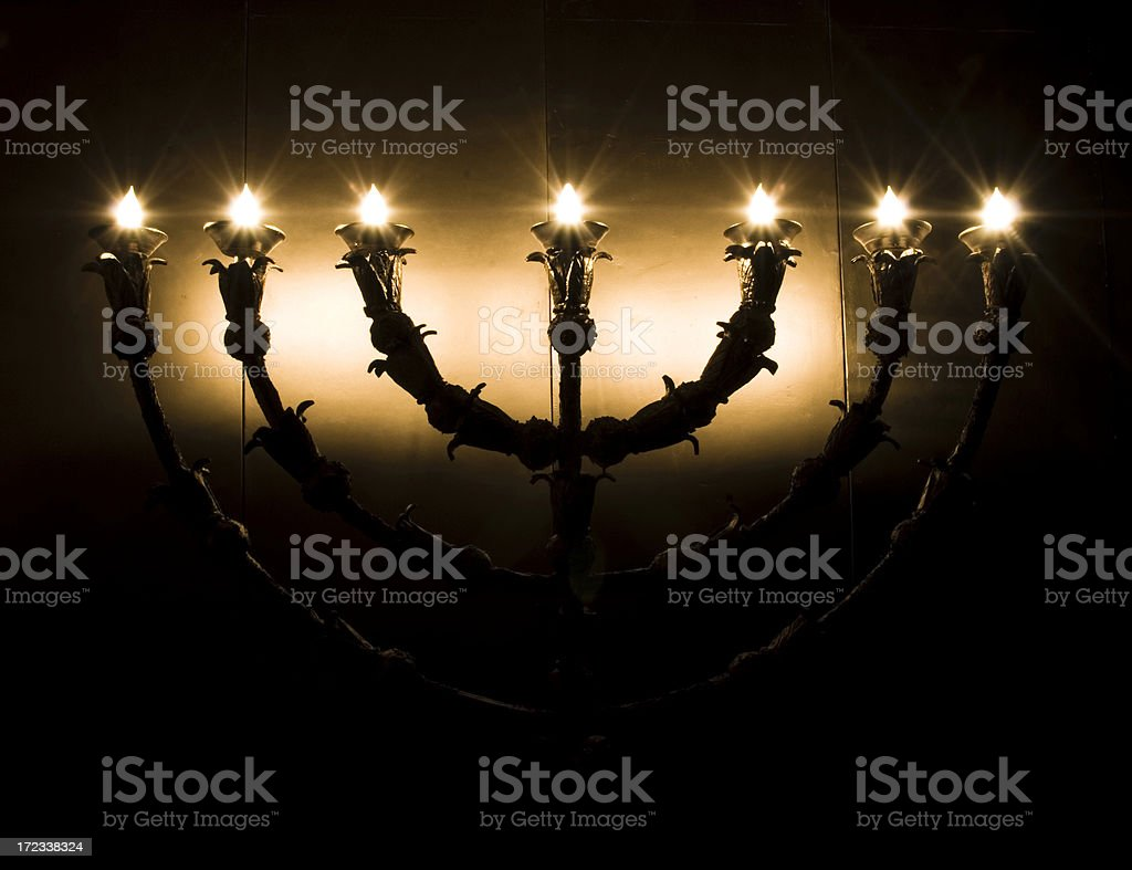seven branches candlestick stock photo