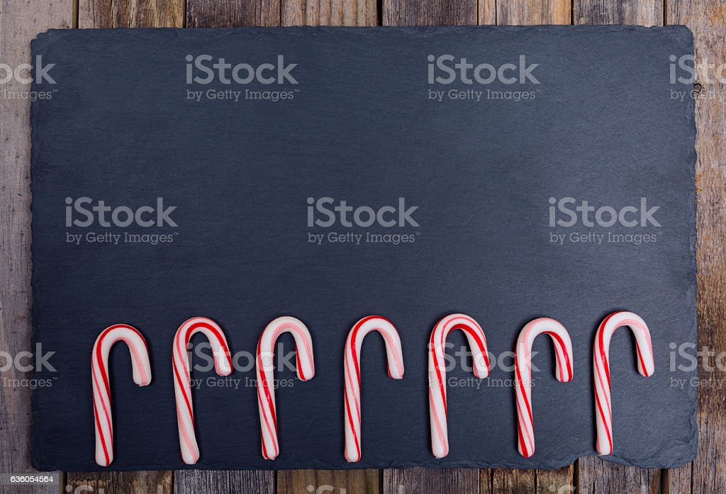 Seven candy canes stock photo