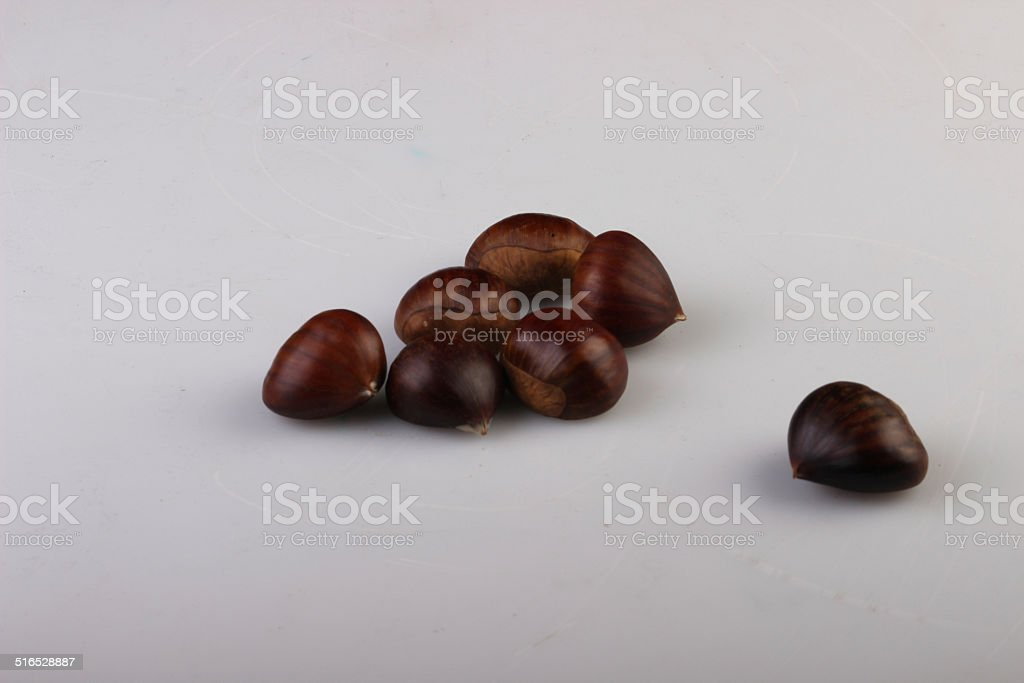 seven chestnuts isolated royalty-free stock photo