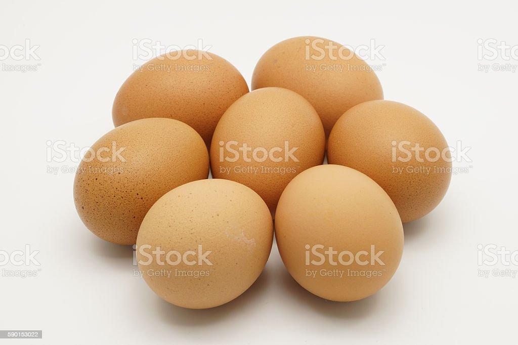 Seven chicken eggs royalty-free stock photo