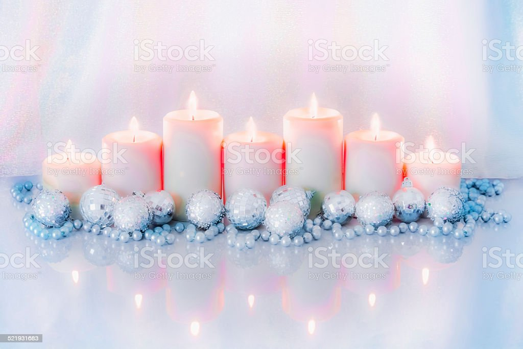 Seven Christmas candles and ornaments in blue and pink (P) stock photo