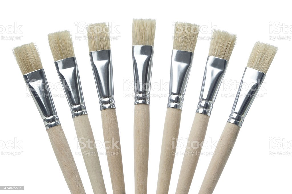 Seven Clean Paintbrushes in a Fan shape, Isolated royalty-free stock photo