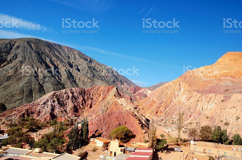 Seven color hill in Purmamarca stock photo
