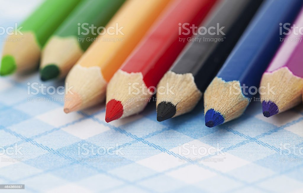 Seven Colored Pencils royalty-free stock photo