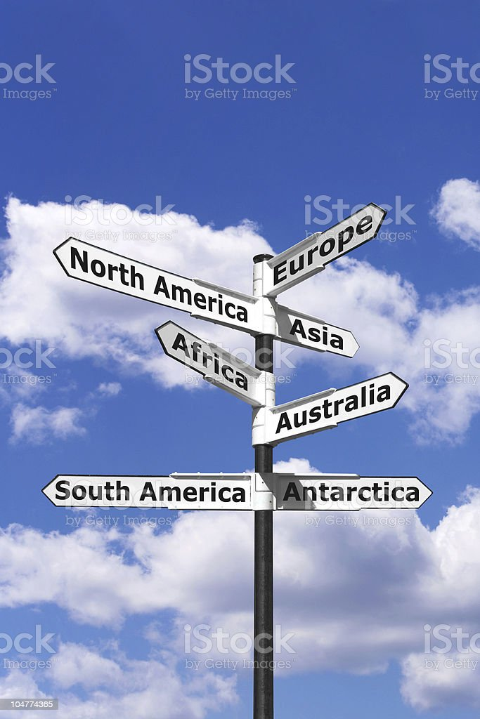 Seven continents signpost vertical royalty-free stock photo