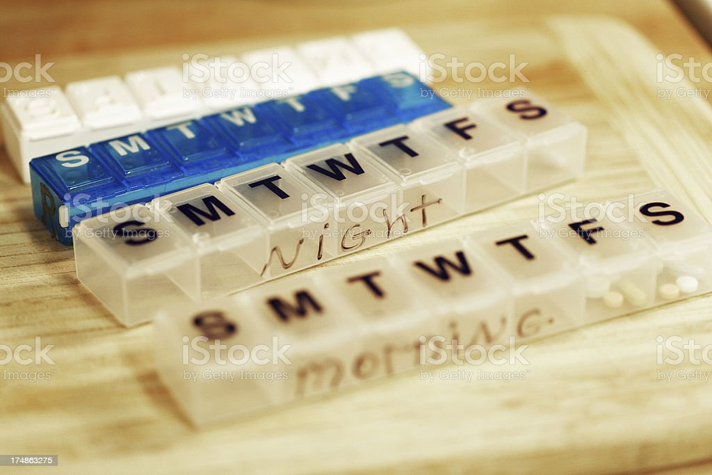 Seven Day Weekly Pill Containers stock photo
