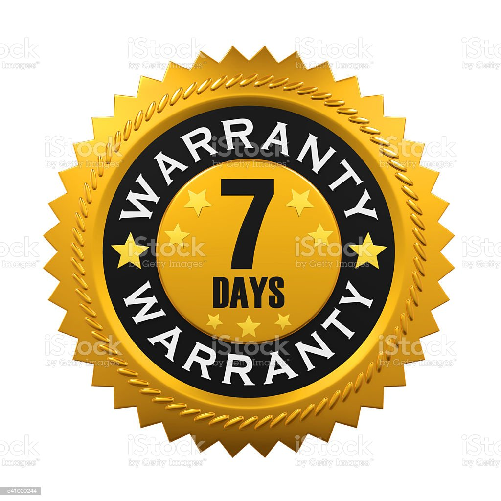 Seven Days Warranty Sign stock photo