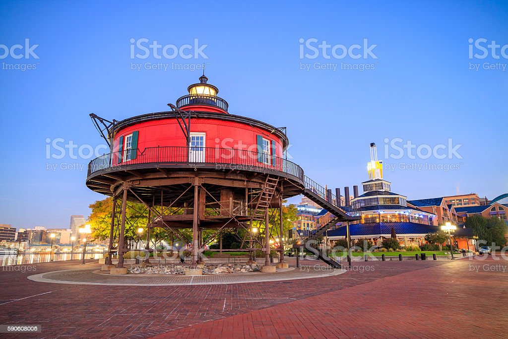 Seven Foot Knoll Lighthouse stock photo