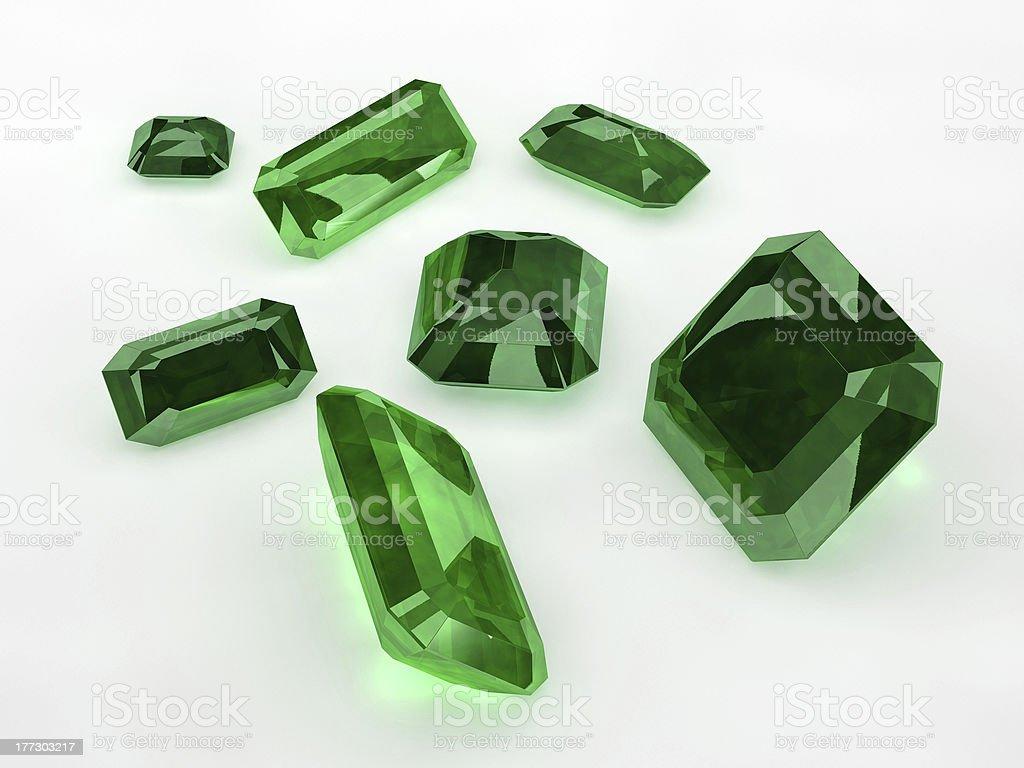 Seven Green Emeralds stock photo
