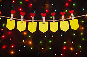seven holiday flags  with hearts