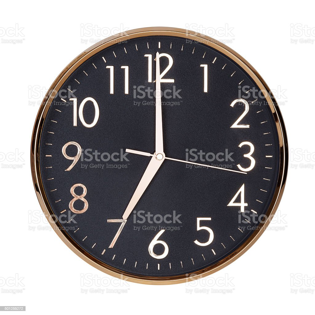 Seven hours on a clock face stock photo
