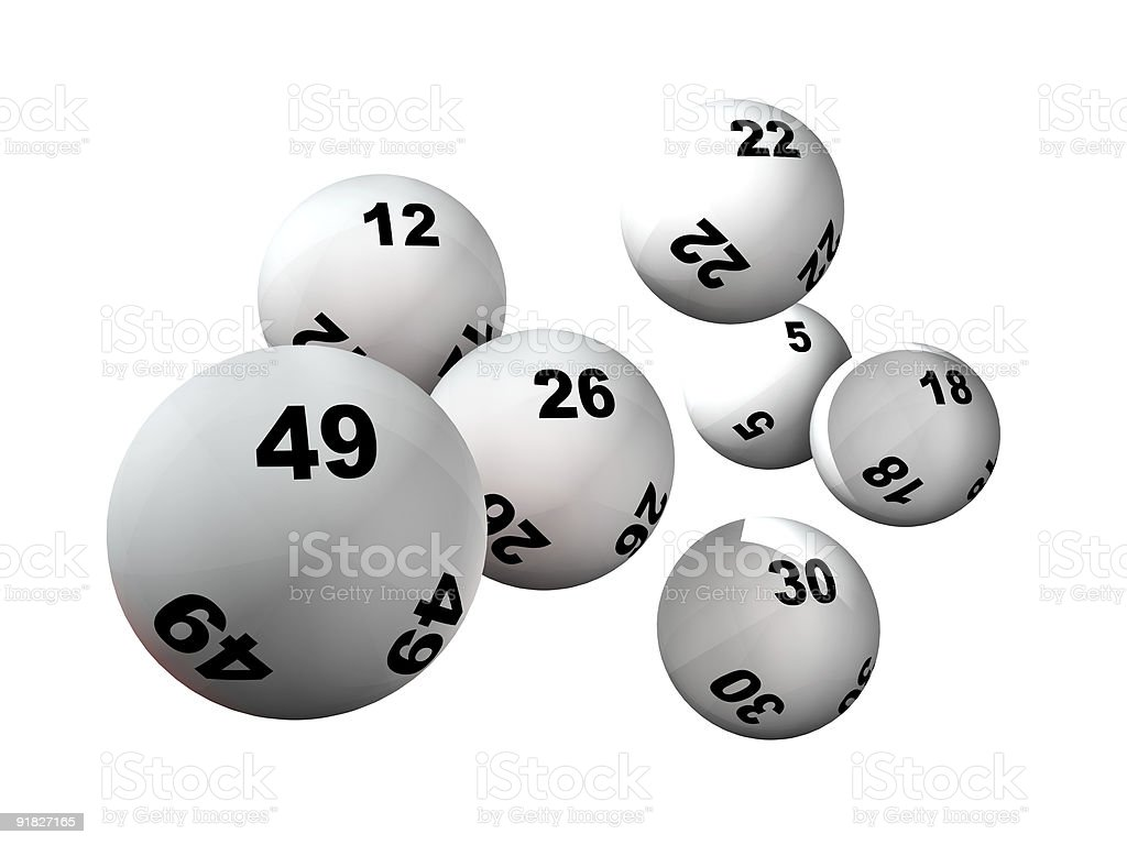 Seven Lottery Balls stock photo